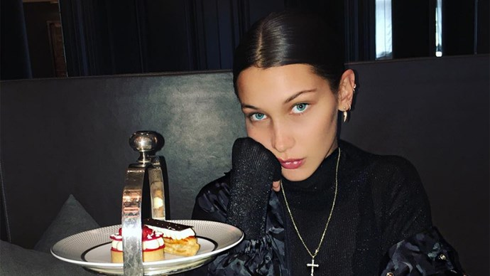 bella hadid smiling