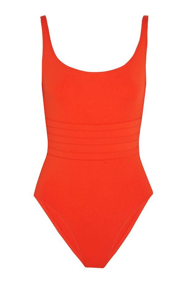 """<a href=""""https://www.net-a-porter.com/au/en/product/616225/eres/les-essentiels-asia-swimsuit"""">Swimsuit, $418, Eres at net-a-porter.com.</a>"""