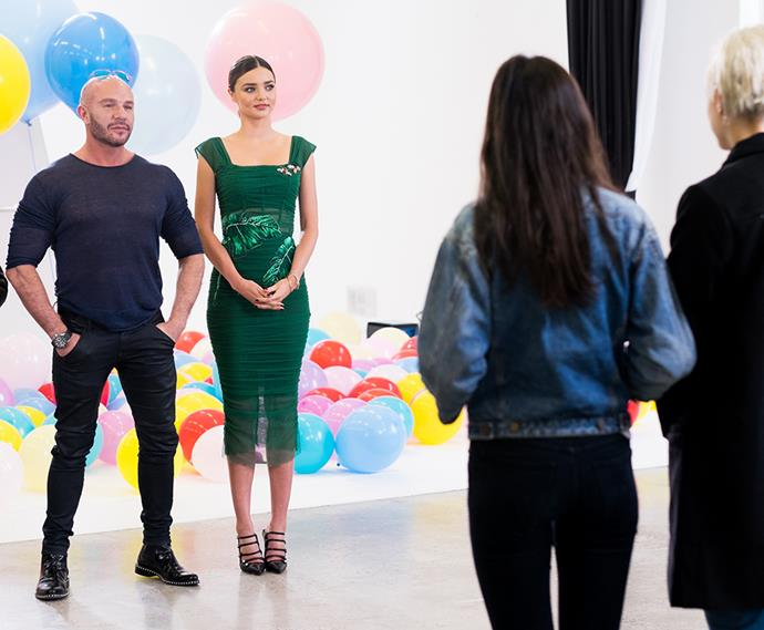 <p>And Miranda Kerr gave them direction in the shoot where they had to shine through crazy, Japanese-inspired outfits in episode eight. <p>Photography credit: © FOXTEL / Ben Symons</p>