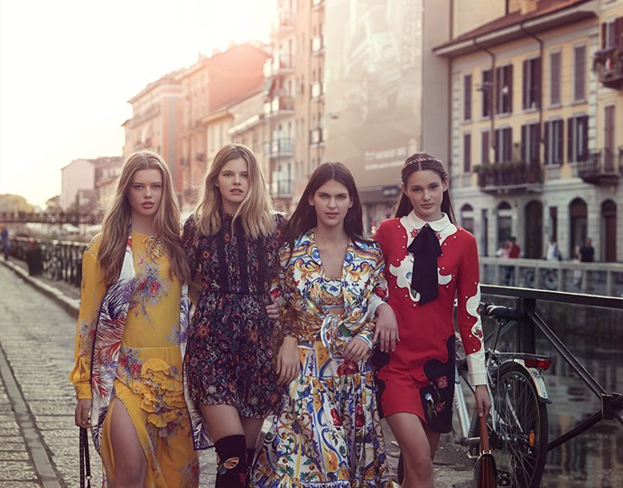 <p><strong>The top four travelled to Milan.</strong> <p>In the show's penultimate episode, Aleyna, Sabine, Linnea and Daisy travelled to Milan with Megan to go to international casting sessions and pose in a dreamy Italian shoot. <p>Photography credit: © FOXTEL / Stefania Paparelli</p>