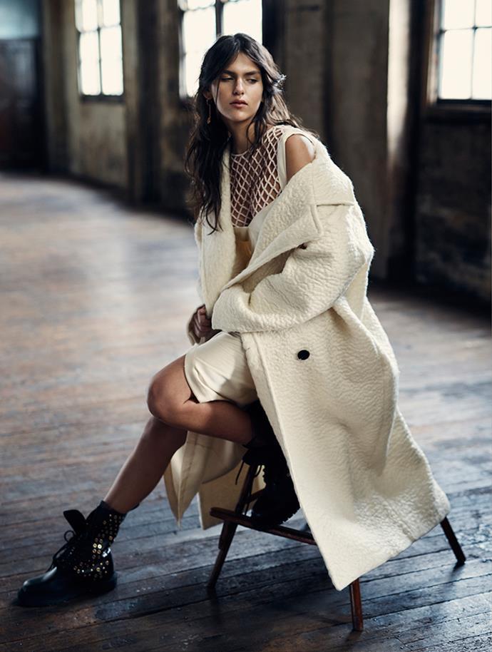 <p>Coat, $6,600, Christian Dior, (02) 9229 4600; dress, $595, KitX, kitx.com.au; mesh top, $2,499, Rachel Gilbert, rachelgilbert.com.