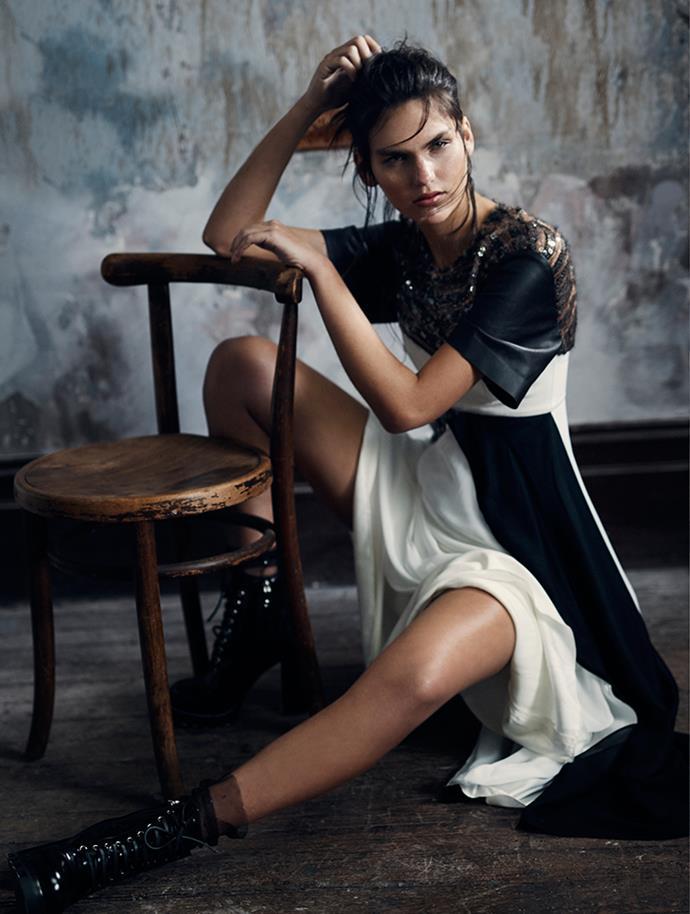 <p>Dress, $12,400, boots, $1,900, both Louis Vuitton, au.louisvuitton.com.