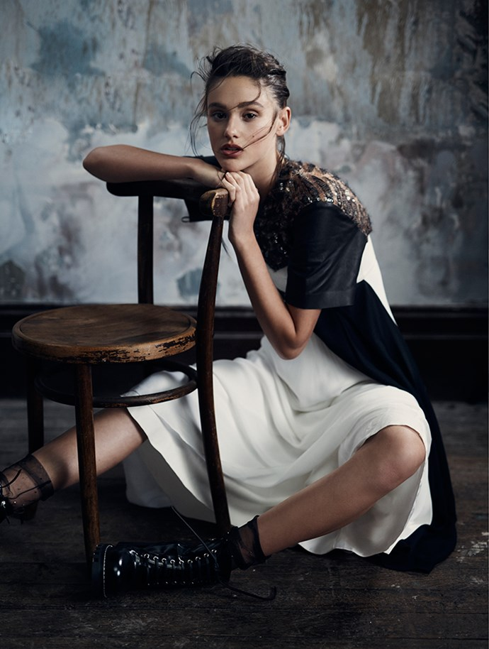 <p>Dress, $12,400, boots, $1,900, both Louis Vuitton, au.louisvuitton.com. <p>Photography: Georges Antoni at The Artist Group<br />Hair:Michele McQuillan using Cloud Nine<br />Makeup: Linda Jefferyes at The Artist Group<br />Styling: Dannielle Cartisano<br />Model: Aleyna FitzGerald<br />Prop styling: Jacqui Ives</p>