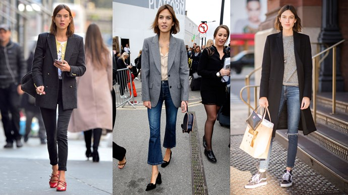 <strong>Alexa Chung</strong> If it ain't broke, don't fix it right? Alexa Chung is a case in point, teaming an oversized blazer, cropped skinny jeans and an understated top with a pair of no—fuss shoes for the always on point tomboy uniform.