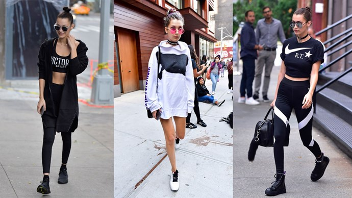 <strong>Bella Hadid</strong> Bells' go—to getup is logo—emblazoned, monochromatic athleisure wear. You can see the youngest Hadid sister hanging around town, her hair slicked back in a bun while sporting some statement shades, cool kicks and super comfortable gym gear.