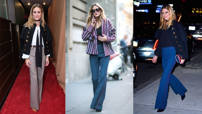 <strong>Olivia Palermo</strong> While you might not have thought it, even Olivia P (Queen of Streetstyle) has her classic ensembles. Our fave? The oh—so—simple, yet utterly elegant, hip—hugging flared trousers, low—key boots and a cropped coat combo. Undone hair is also a <em>must</em>.
