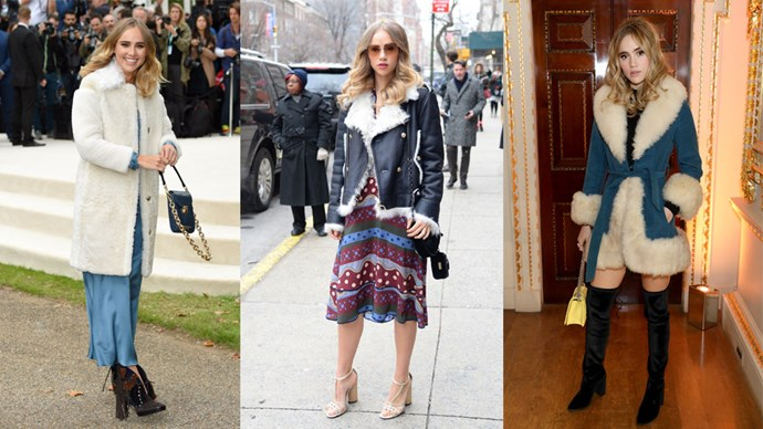<strong>Suki Waterhouse</strong> The English rose typifies the '60s era with her range of woolly shearling coats and funky print dresses in a range of muted hues. Add some bombshell curls and a trending mini bag and voilà!
