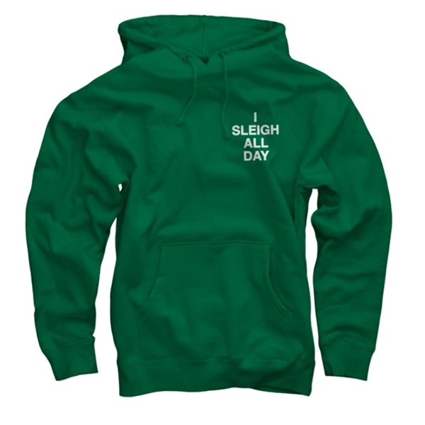 "Hoodie, $80, <a href=""http://shop.beyonce.com/products/59233-i-sleigh-green-pullover-sweatshirt"">Beyonce.com</a>"