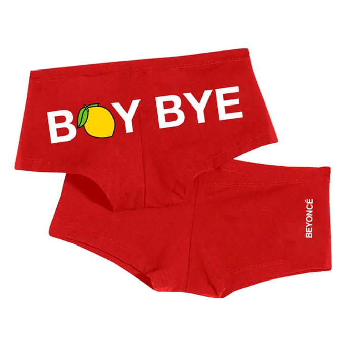 "Underwear, $24, <a href=""http://shop.beyonce.com/products/59265-boy-bye-shorties"">Beyonce.com</a>"