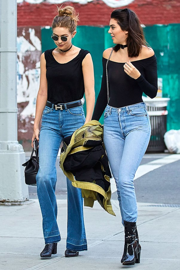 <strong>Black top, black boots, and high-waited jeans twins</strong><br><br> Walking in London in June 21, 2016.<br><br> Image: Splash