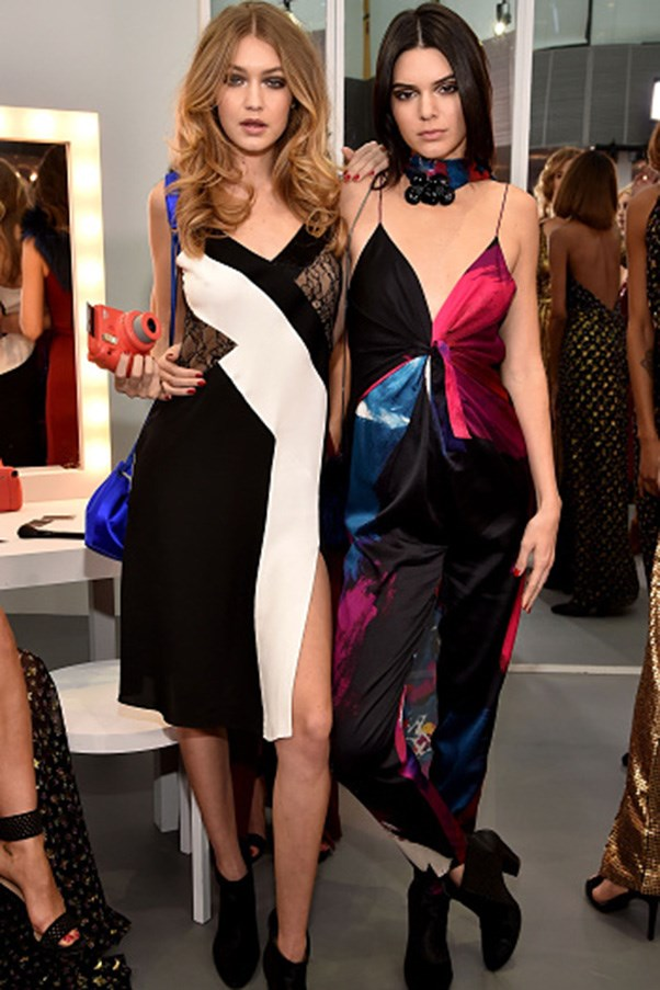 <strong>Colour-block slip dress and black bootie twins</strong><br><br> At the autumn winter 2016 Diane Von Furstenberg presentation in New York City on February 14, 2016.
