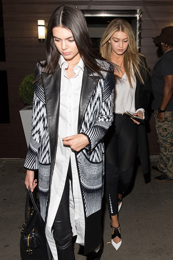 <strong>Black and white ensemble twins</strong><br><br> At Gigi Hadid's 20th birthday party in Los Angeles on April 26, 2015.
