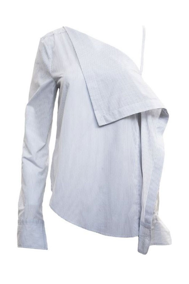 """<a href=""""https://www.theundone.com/products/dion-lee-striped-axis-sleeve-shirt"""">Shirt, $450, Dion Lee, from theundone.com.</a>"""