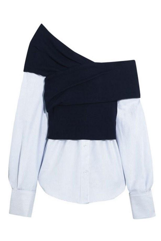 "<a href=""https://www.net-a-porter.com/au/en/product/791791/jacquemus/one-shoulder-striped-cotton-poplin-and-ribbed-knit-top"">Shirt, $525, Jacquemus at net-a-porter.com. </a>"