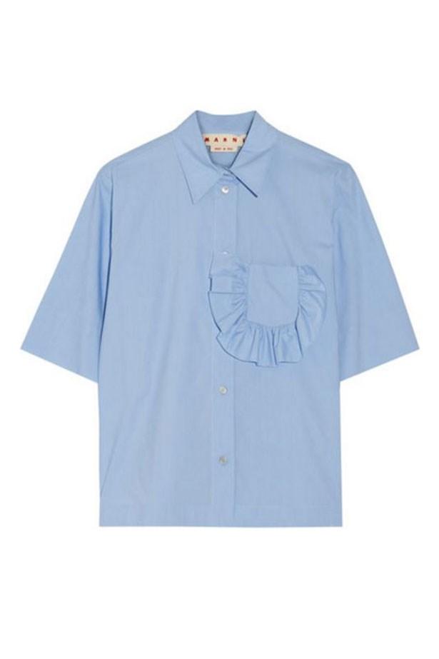 "<a href=""https://www.net-a-porter.com/au/en/product/707863/marni/ruffle-trimmed-cotton-poplin-shirt"">Shirt, $564, Marni at net-a-porter.com. </a>"