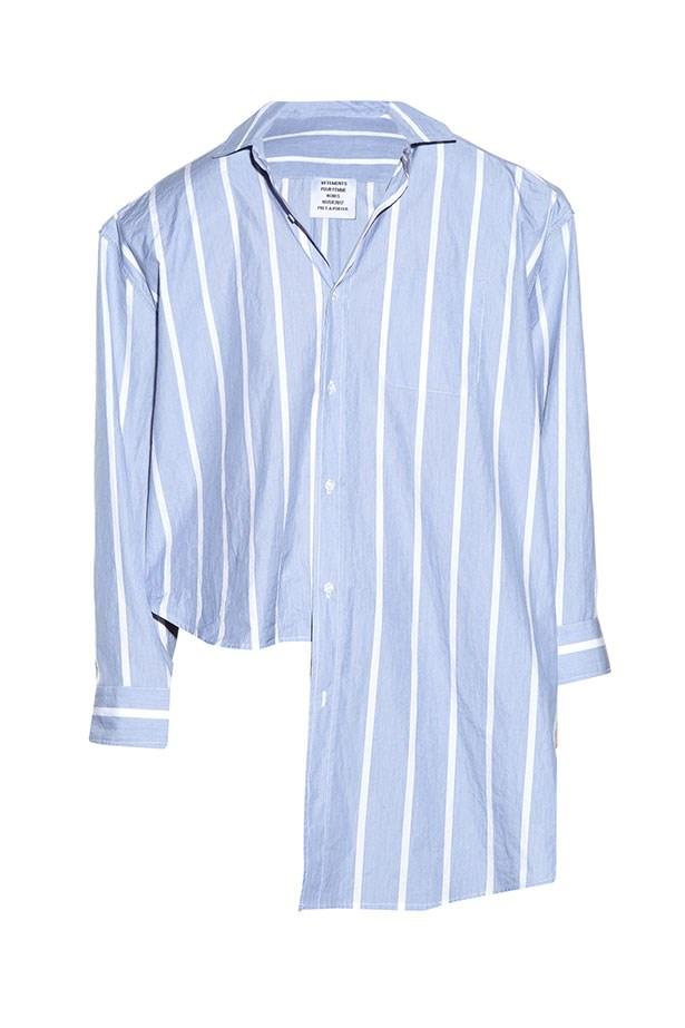 "<a href=""http://www.matchesfashion.com/au/products/Vetements-Oversized-uneven-hem-striped-shirt-1065797"">Shirt, $811, Vetements from matchesfashion.com.</a>"