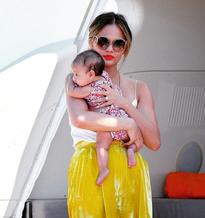 """7. When someone else told Chrissy she was holding her """"baby like a handbag."""" To which Chrissy replied, """"Well you hold your handbag like a f*cking idiot then."""""""