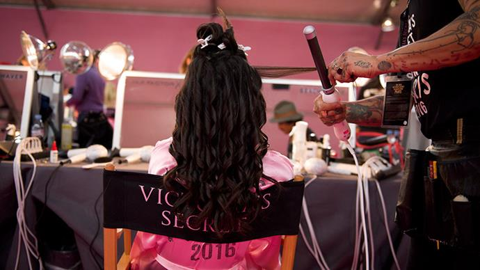 **3.** Curl your hair in small, one inch wide sections for the perfect VS helix.
