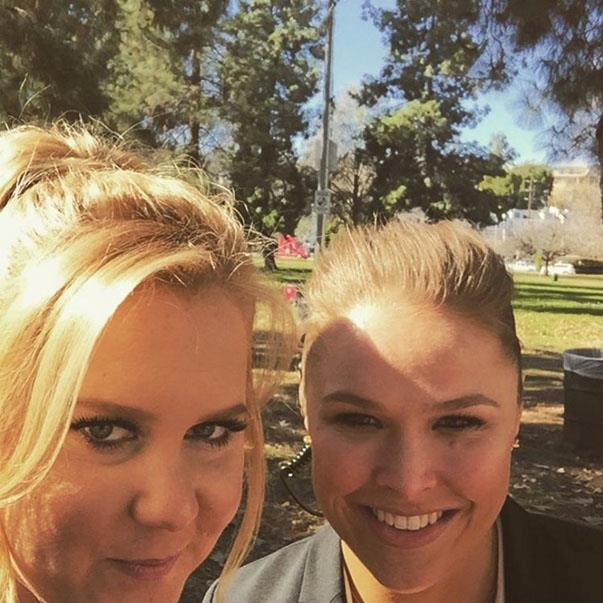 <p><strong>Amy Schumer and Ronda Rousey </strong><p>Badass friends.