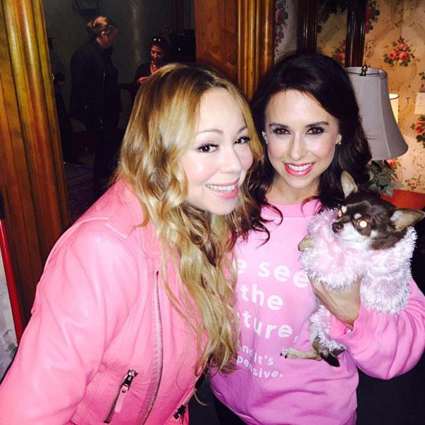 <p><strong>Mariah Carey and <em>Mean Girls' </em>Lacey Chabert</strong> <p>Friends who wear pink.