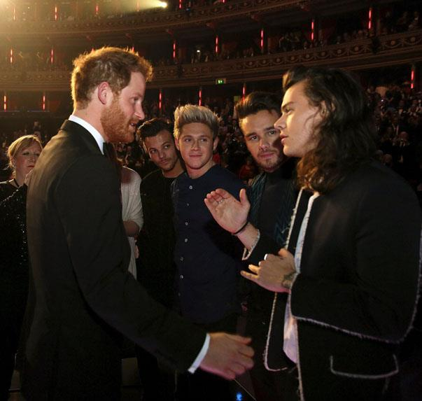 <p><strong>Prince Harry and One Direction</strong> <p>British royalty meets pop royalty friends.