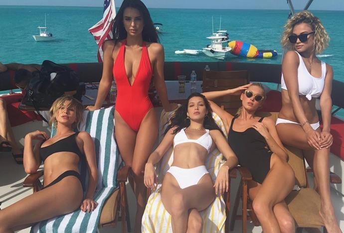 "Hailey Baldwin, Emily Ratajkowski, Bella Hadid, Elsa Hosk and Rose Bertram <br><Br> Instagram: <a href=""https://www.instagram.com/p/BN7PJXxhy57/?taken-by=haileybaldwin"">@HaileyBaldwin</a>"