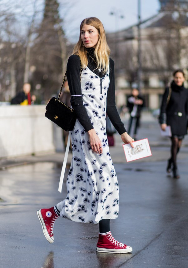If you're feeling brave, step out in more than just black, white and pink sneaker tones.