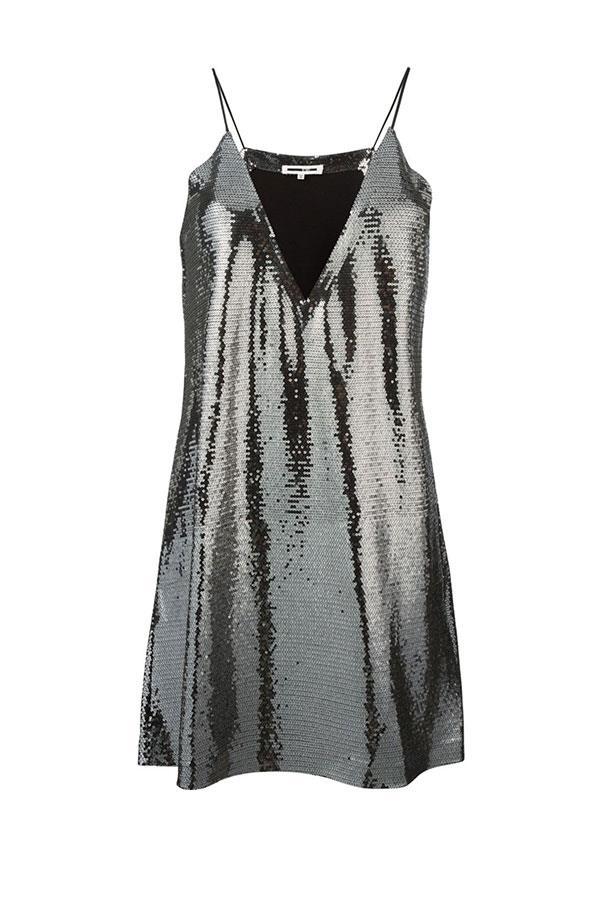 "Alexander McQueen dress, $391.33 from <a href=""https://www.farfetch.com/au/shopping/women/mcq-alexander-mcqueen-paillettes-slip-dress-item-11510482.aspx?storeid=9621&from=listing&rnkdmnly=1&ffref=lp_pic_3_5_"">farfetch.com</a>."