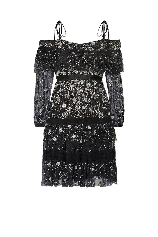"Needle & Thread dress, $584 from <a href=""https://www.net-a-porter.com/au/en/product/794957/needle___thread/supernova-off-the-shoulder-ruffled-embellished-tulle-mini-dress"">net-a-porter.com</a>."