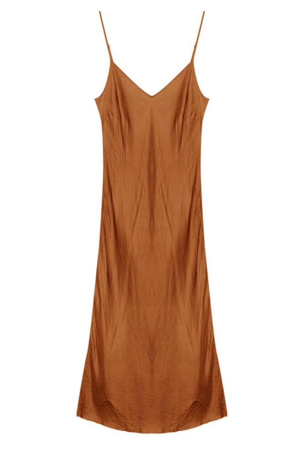"Organic by John Patrick dress, $245 from <a href=""https://www.mychameleon.com.au/bias-long-slip-maple-p-4723.html?typemf=women"">mychameleon.com.au</a>."