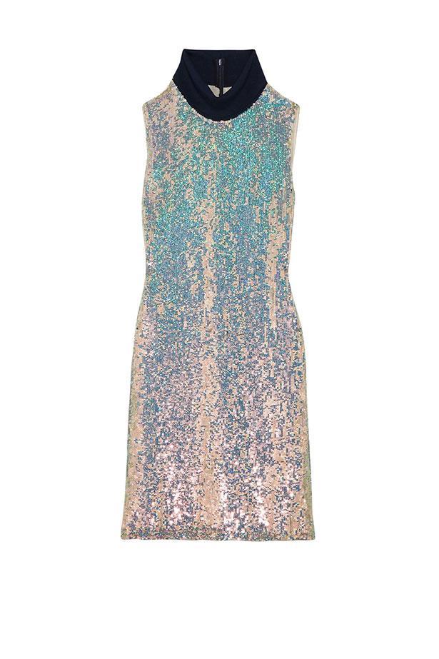 "3.1 Phillip Lim dress, $1,735 from <a href=""https://www.net-a-porter.com/au/en/product/776179/3_1_phillip_lim/jersey-trimmed-sequined-silk-turtleneck-dress"">net-a-porter.com</a>."