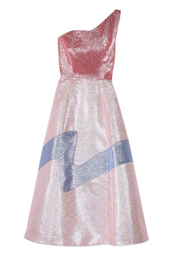 "Vika Gazinskaya dress, $3,084 from <a href=""https://www.net-a-porter.com/au/en/product/759584/vika_gazinskaya/one-shoulder-lame-dress"">net-a-porter.com</a>."