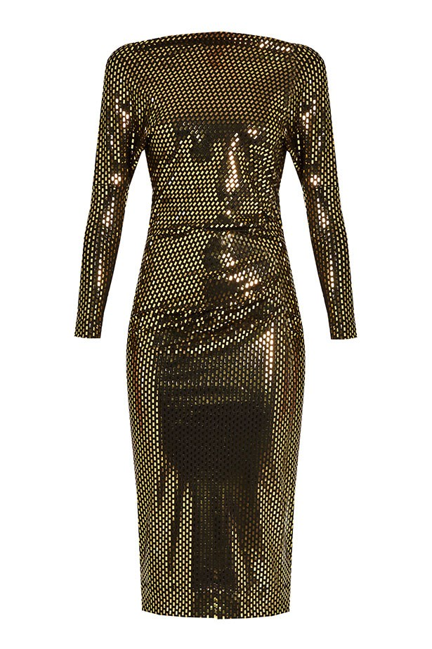 """Vivienne Westwood dress, $456 from <a href=""""http://www.matchesfashion.com/au/products/Vivienne-Westwood-Anglomania-Thigh-draped-laminated-print-jersey-dress-1071557"""">matchesfashion.com</a>."""