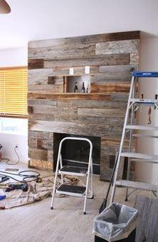 "<a href=""https://au.pinterest.com/pin/424605071105031739/"">DIY reclaimed wood fireplace.</a>"