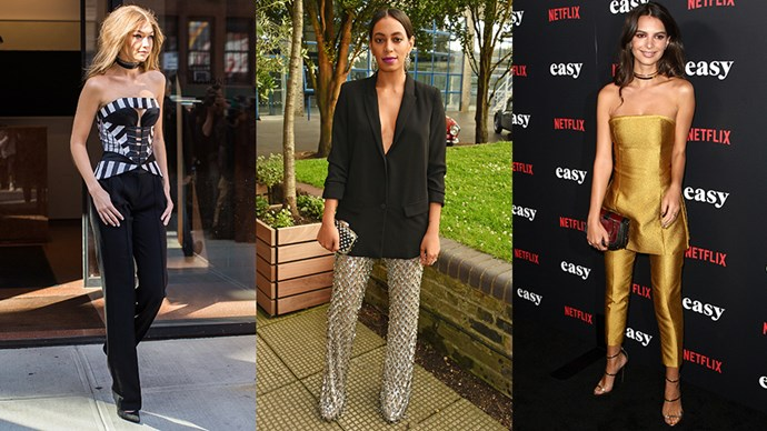There's a convincing case for swapping your trusty New Year's Eve dress for a polished trousers-and-heels combo. Let Gigi, Solange and more show you how it's done.