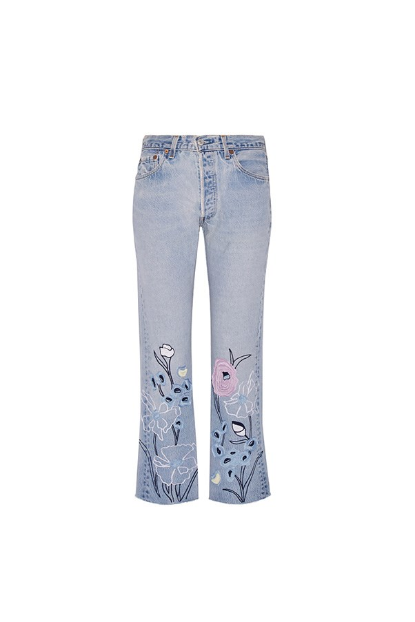 """Bliss and Mischief jeans, was $644, now $387, <a href=""""https://www.net-a-porter.com/au/en/product/762286/bliss_and_mischief/wild-flower-embroidered-high-rise-straight-leg-jeans"""">Net-a-Porter</a>"""