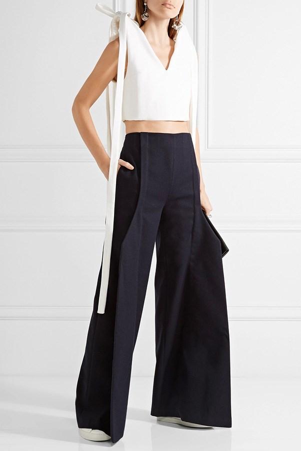 "Jacquemus cropped top, was $499, now $250, <a href=""https://www.net-a-porter.com/au/en/product/757699/jacquemus/cropped-bow-embellished-cotton-pique-top"">Net-a-Porter</a>"