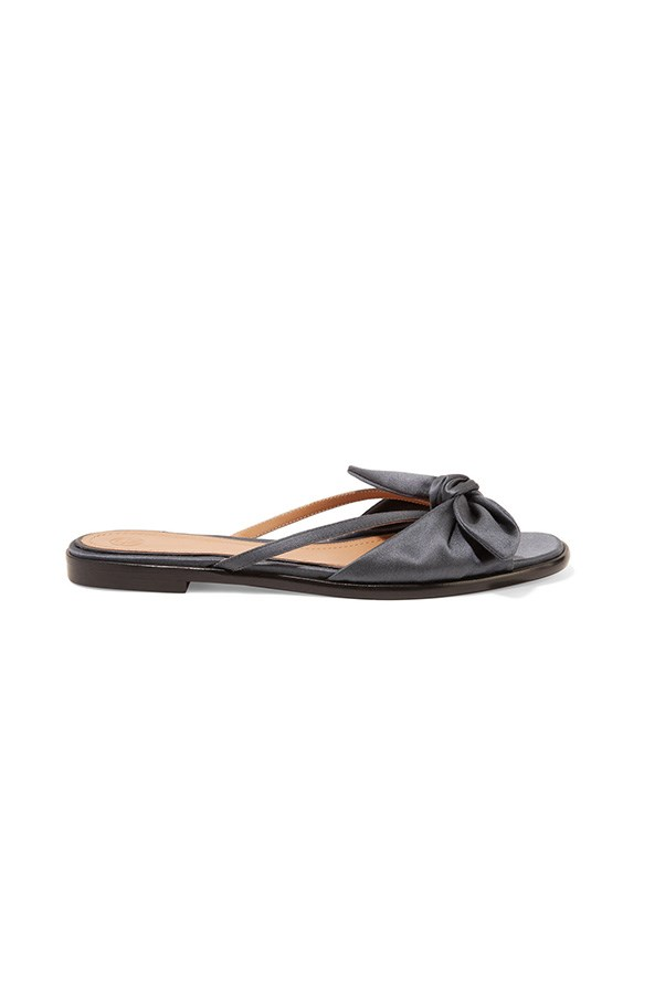 """The Row sandals, was $781, now $391, <a href=""""https://www.net-a-porter.com/au/en/product/740824/the_row/april-bow-embellished-silk-satin-sandals"""">Net-a-Porter</a>"""