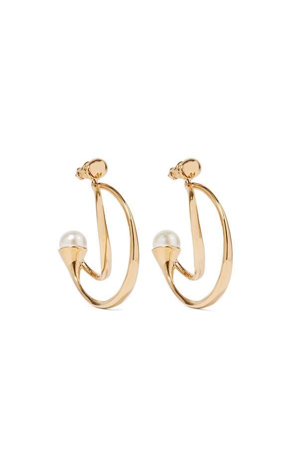 """Chloé earrings, was $520, now $312, <a href=""""https://www.net-a-porter.com/au/en/product/712429/chloe/darcey-gold-plated-faux-pearl-earrings"""">Net-a-Porter</a>"""