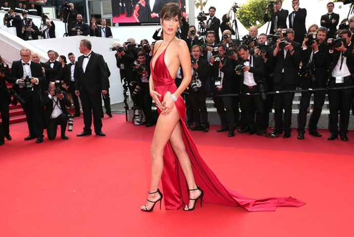 <p><strong>BELLA HADID IN ALEXANDRE VAUTHIER COUTURE</strong> <br><Br> On the Cannes Film Festival red carpet with what might have been the year's highest slit, Bella Hadid (in Alexandre Vauthier Couture) made it apparent that Gigi wasn't the only Hadid to consider.