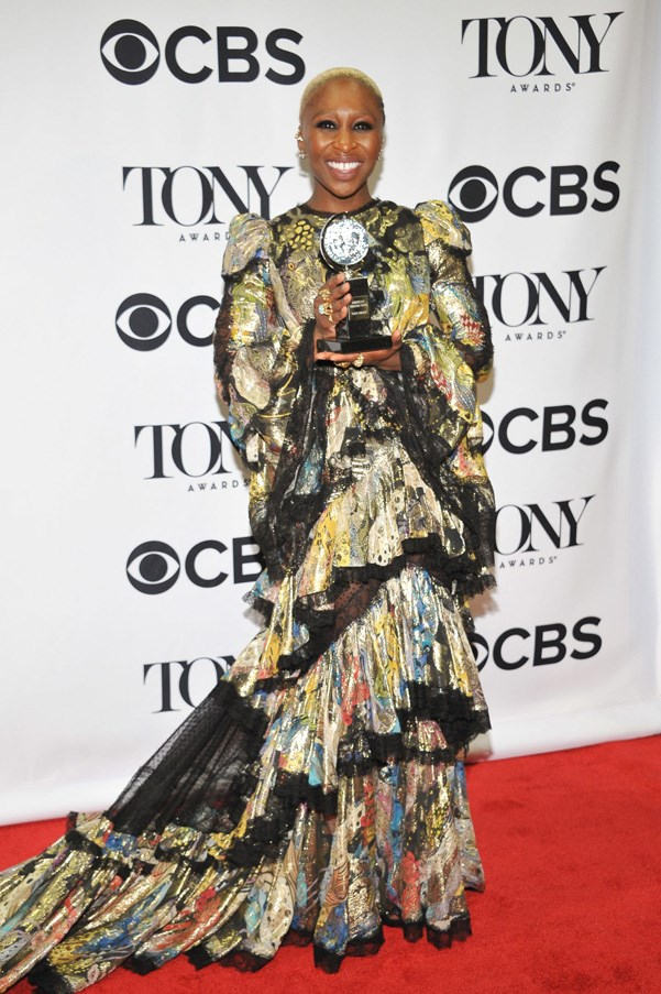 <p>C<strong>YNTHIA ERIVO IN ROBERTO CAVALLI</strong> <br><Br> Big shoulders and a bold print make up Cynthia Erivo's theatrical-glam look at the Tonys.