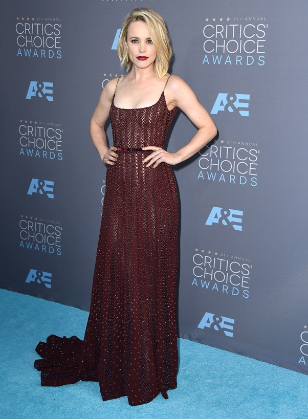 <p><strong>RACHEL MCADAMS IN ELIE SAAB COUTURE</strong> <br><Br> Stepping out for the first time post Oscar-nom, Rachel McAdams chose a deep red Elie Saab Couture gown at the Critics' Choice Awards.