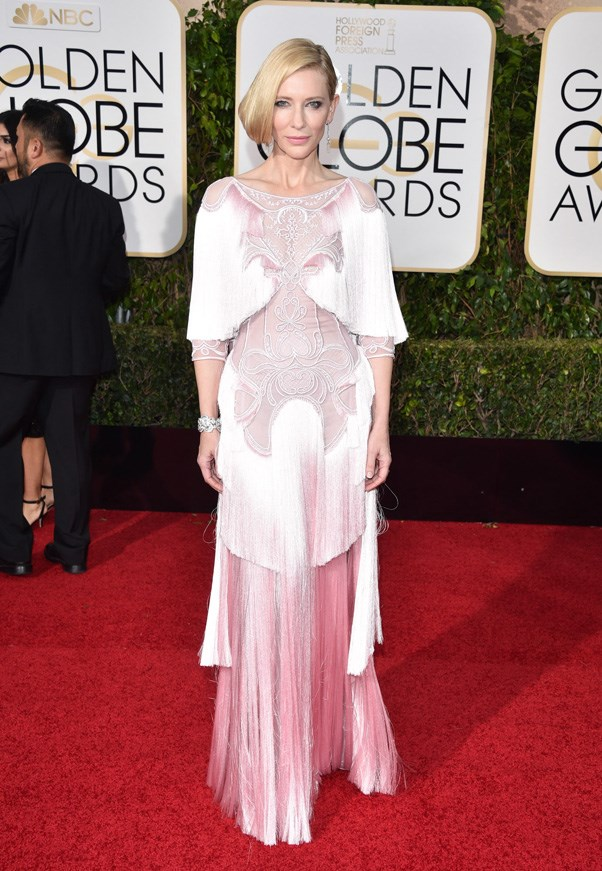 <p><strong>CATE BLANCETT IN GIVENCHY</strong> <br><Br> Cutouts and cascading fringe made Cate Blanchett's Givenchy gown at the Golden Globes one to remember.