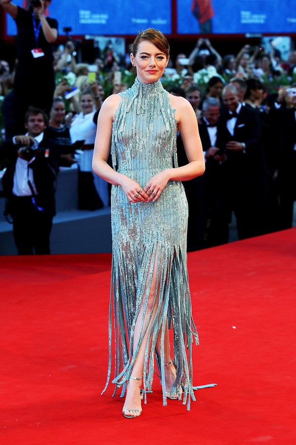 <P><strong>EMMA STONE IN ATELIER VERSACE</strong> <BR><BR> Emma Stone literally dripped in silver, courtesy of Atelier Versace, while premiering<em> La La Land</em> at the Venice Film Festival.