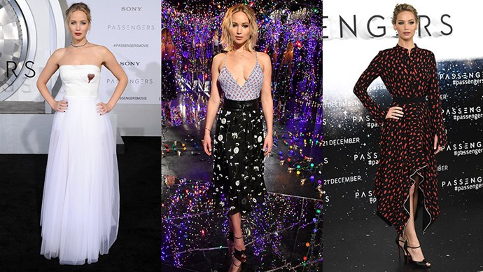 We're charting J-Law's show-stopping red carpet style from the promo circuit of <em>Passengers</em>.