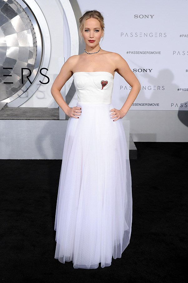 In Dior at the world premiere for <em>Passengers</em> in Los Angeles.