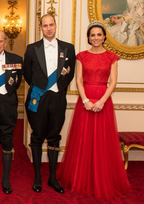 The Duchess of Cambridge wearing a gown by Jenny Packham at the annual evening reception for members of the Diplomatic Corps at Buckingham Palace on 8th December 2016.
