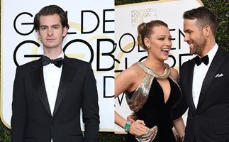 Ryan Reynolds Andrew Garfield Kiss at Golden Globes