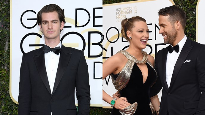 Ryan Reynolds Andrew Garfield Kiss at Golden Globes