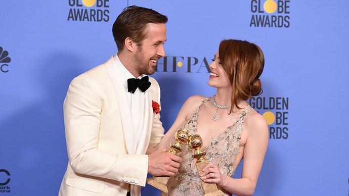 Ryan Gosling Emma Stone at 2017 Golden Globes